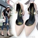 韓版高跟涼鞋粗跟春秋2020新款百搭中跟一字扣包頭絨面尖頭單鞋女 依凡卡時尚