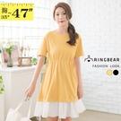 連身裙--浪漫甜美圓領腰部抽繩荷葉拼接裙擺短袖洋裝(黑.黃L-3L)-D576眼圈熊中大尺碼