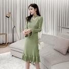 魚尾洋裝 2020秋冬針織連身裙中長款荷葉邊內搭打底裙修身V領魚尾毛衣裙厚 艾維朵
