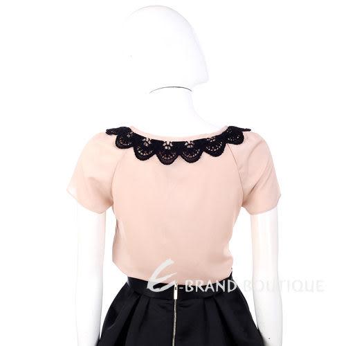 PHILOSOPHY 粉色異材質針織花邊飾短袖上衣 1230441-05
