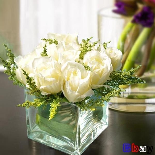 【貝貝】人造花仿真花假花絹花玫瑰套裝樣板房擺件客廳餐桌玻璃花藝擺設軟裝飾品