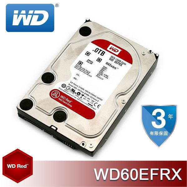 【免運費】WD 3.5 吋 RED 紅標 6TB SATA NAS 專用硬碟 (WD60EFRX) - AF