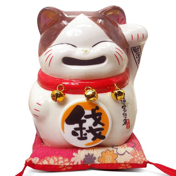 【金石工坊】福寶招來笑臉貓(高15CM)招財貓 陶瓷開運桌上擺飾  波士桃花貓 撲滿存錢筒