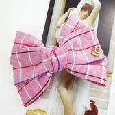 【粉紅堂 髮飾】清新格子紋蝴蝶結髮夾 *粉紅色*