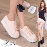 [Here Shoes]5色 流行款素色繫帶厚底增高5CM帆布鞋 鬆糕鞋 小白鞋 懶人鞋  ◆MIT台灣製─KIDW621