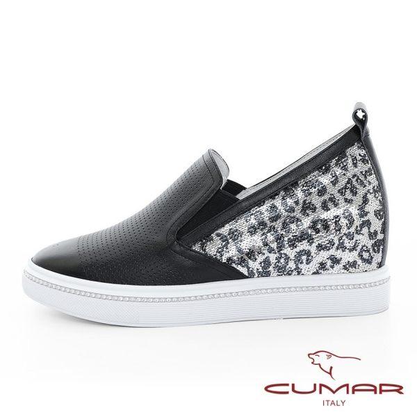 【CUMAR】悠遊輕井澤 -特殊壓紋牛皮亮片豹紋異材質內增高懶人休閒鞋(黑)