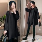 孕婦裝 MIMI別走【P51794】顯瘦剪裁 韓國雪紡連身裙 寬版上衣