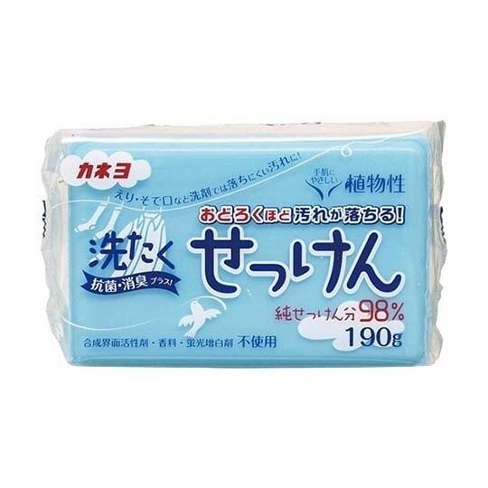 小禮堂 KANEYO 日製 植物性衣物肥皂 去汙皂 洗衣皂 純皂 家事皂 190g (藍) 4901329-24035