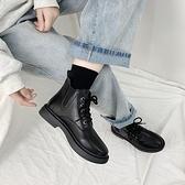 短靴女ins潮百搭秋鞋2020年新款低幫靴子黑色平底馬丁靴女英倫風