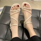 低跟鞋.清新迷人素面Z字繞帶平底涼鞋.白鳥麗子