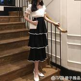 韓國新款chic仙女褶皺層層蛋糕裙紗裙夏撞色雪紡高腰百搭半身裙潮   橙子精品