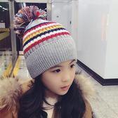 冬季男童女童毛線帽加絨加厚保暖風毛球中大兒童套頭帽子