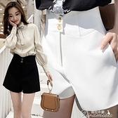 短褲大碼西裝短褲女夏寬松高腰顯瘦2021   褲子女黑色a 字闊腿褲 出貨