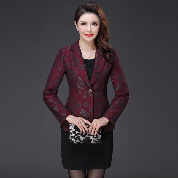 西裝外套 修身顯瘦提花小西裝時尚優雅一粒扣女士西服外套 萬聖節鉅惠