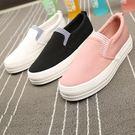松糕厚底板鞋套腳帆布鞋女LJ2914『黑色妹妹』