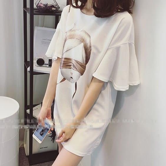 *魔法之城*CC11400新款韓版寬鬆大碼時尚印花短袖荷葉邊連衣裙洋裝