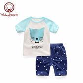 兒童短袖套裝男夏季寶寶夏裝嬰兒衣服童裝女男童短袖短褲夢想巴士