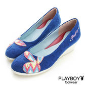 PLAYBOY 閃耀舞台 GOPLAY亮彩圖騰楔型鞋-藍