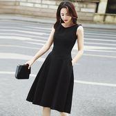 工廠批發價不退換洋裝連身裙 新款復古氣質顯瘦赫本中長款黑色大擺A字連衣裙夏9877(T364B)