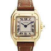 Cartier 卡地亞 美洲豹白色面盤18K金棕色牛皮腕錶Panthère de Cartier 【BRAND OFF】