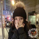帽子女正韓學生仿狐貍毛球毛線帽秋套頭帽加厚可愛針織帽全館免運