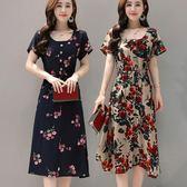 中年媽媽夏季時尚短袖女裝長款繫帶寬鬆版印花中老年綿綢連身裙女 東京衣秀