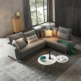 林氏木業北歐時尚實木腳可拆洗左L三人布沙發(附抱枕)RAK2K-中灰色
