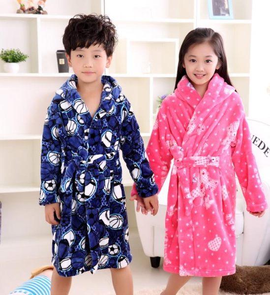 法蘭絨兒童睡袍珊瑚加厚睡衣男童女童小孩寶寶浴袍