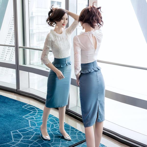 絕版出清 韓國風名媛蕾絲時尚荷葉收腰包臀套裝短袖裙裝