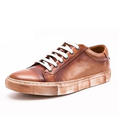 短靴真皮-繫帶街頭時尚復古做舊男靴子2色73kk107[巴黎精品]