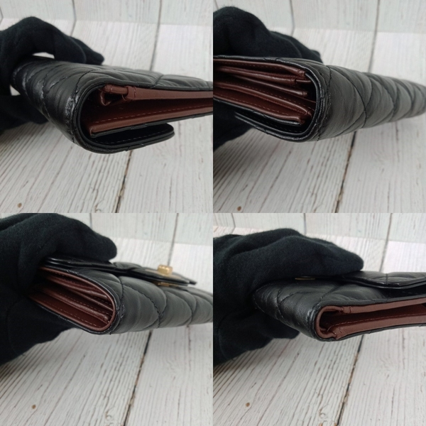 BRAND楓月 CHANEL 香奈兒 28開 2.55金釦二折黑中夾 皮夾 錢包