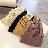 網編提袋 針織手提背心包秋季韓版網眼鏤空編織手提袋 綠光森林
