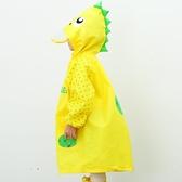 戶外游大帽檐兒童雨衣加厚卡通透氣無氣味帶書包位拉鏈男女童雨衣