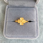 歐幣久不掉色戒指仿黃金色磨砂越南沙金四葉草情侶開口