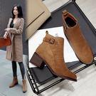 靴子女短靴秋冬新款高跟粗跟馬丁靴女短筒瘦瘦靴棉鞋 熊熊物語