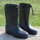 時尚季新款時尚仿皮男式雨鞋高筒加絨保暖雨靴機車水鞋套鞋「時尚彩虹屋」
