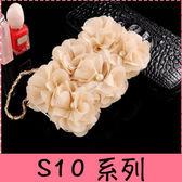 【萌萌噠】三星 Galaxy S10 S10+ S10e 韓國立體米色玫瑰保護套 帶掛鍊側翻皮套 支架插卡 手機殼  軟殼