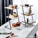 水果盤 三層鐵藝蛋糕架下午茶點心架水果盤蛋糕盤甜品台擺件婚禮生日裝飾 618購物節
