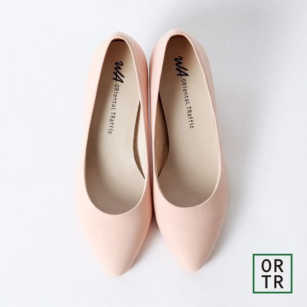 【ORiental TRaffic】小資甜心護趾舒適跟鞋-粉色