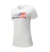 New Balance NB DRY 科技棉橫條LOGO 女款白色短袖上衣-NO.AWT01158SAH