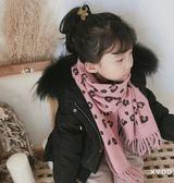韓版秋冬季豹紋仿羊絨兒童流蘇圍巾
