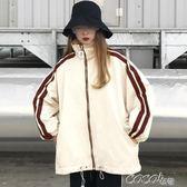 短款外套 春季新款女裝寬鬆復古高領運動休閒外套女學生兩條杠長袖風衣開衫 coco衣巷