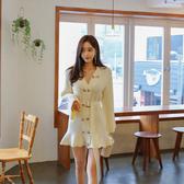 超殺29折 韓國風V領雙排扣收腰顯瘦針織毛衣長袖洋裝
