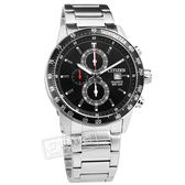 CITIZEN 星辰表 / AN3600-59E / 經典三眼 計時碼錶 日期 日本機芯 防水100米 不鏽鋼手錶 黑色 44mm