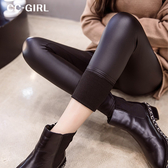 中大尺碼  加絨高腰內搭皮褲 - 適XL~4L《 19643/1757 》CC-GIRL