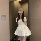 方領洋裝 2021夏季新款白色方領蓬蓬連身裙女洋氣小個子顯高收腰顯瘦娃娃裙 晶彩