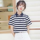 Polo衫 2020新款短袖t恤女寬鬆原宿條紋半袖上衣