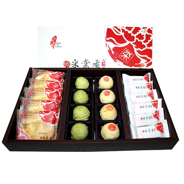 【采棠肴鮮餅鋪】月餅大禮盒 鳳梨酥6入+太陽餅5入+月餅8入多種口味任選2種