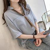短袖襯衫 2019夏裝女裝新款時尚條紋領帶襯衫女短袖上衣寬鬆百搭半袖襯衣潮 免運 維多