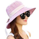 遮陽帽女夏天沙灘遮陽帽出遊休閒百搭防曬太陽帽可折疊戶外防紫外線